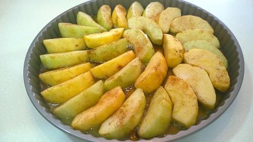 Apples arranged in pan