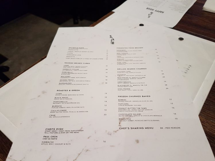 Salted & Hung Menu