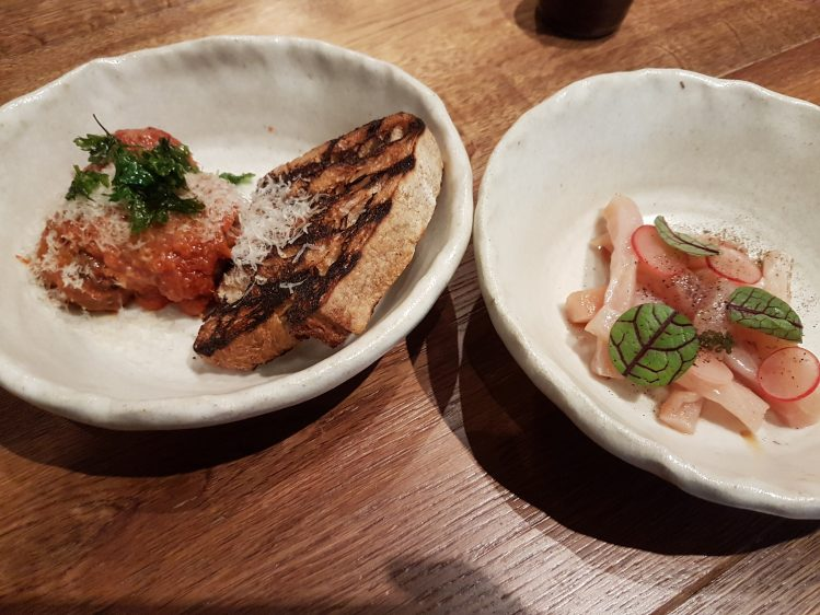 Salted Hung Hamachi and Meatballs