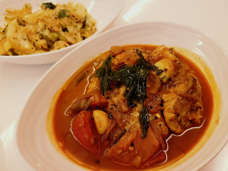 Kerala Fish Curry with Cabbage side dish