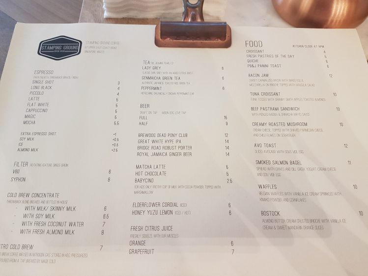 Stamping Ground Coffee Menu
