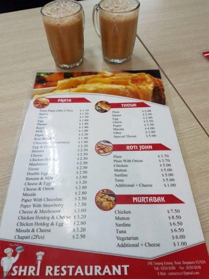 Shri Restaurant Prata Menu
