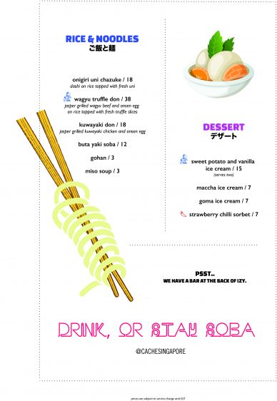 IZY Rice Noodles Dessert Menu