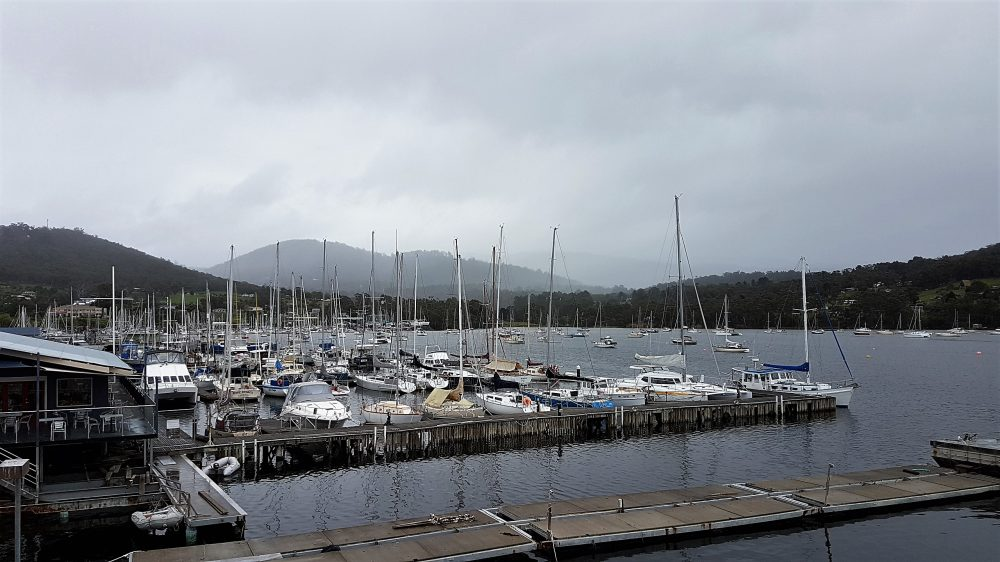 Hobart harbour cloudy view