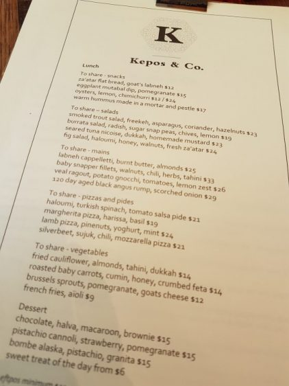 Sydney Kepos Co Menu