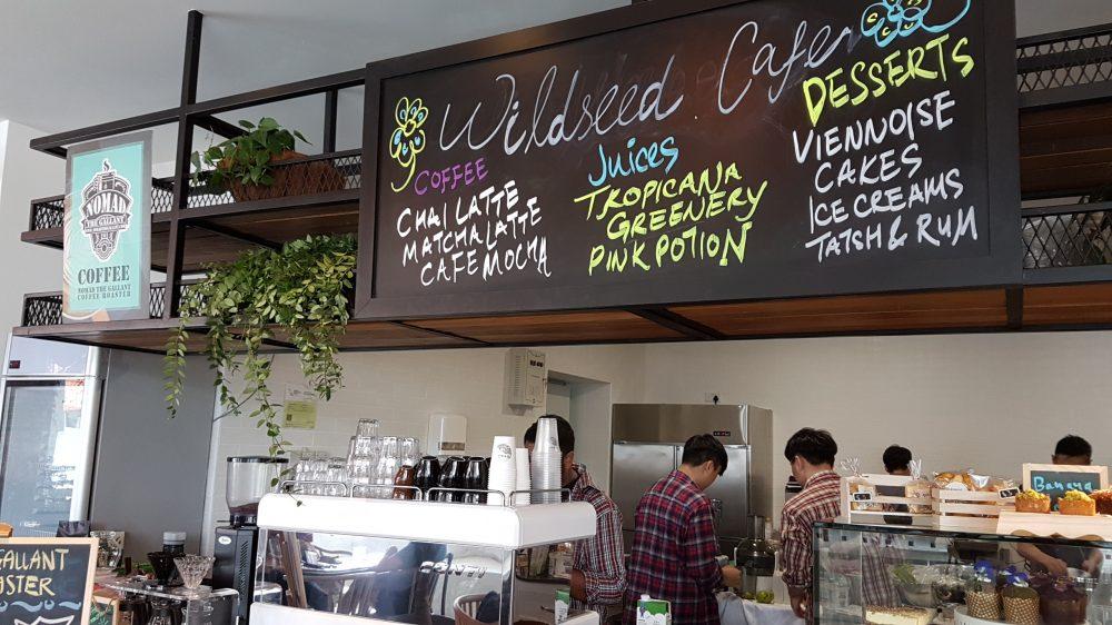 Wildseed cafe interior menu on board