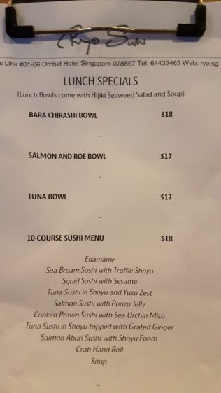 Ryo sushi lunch menu