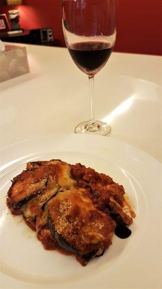 Eggplant Parmigiana with wine
