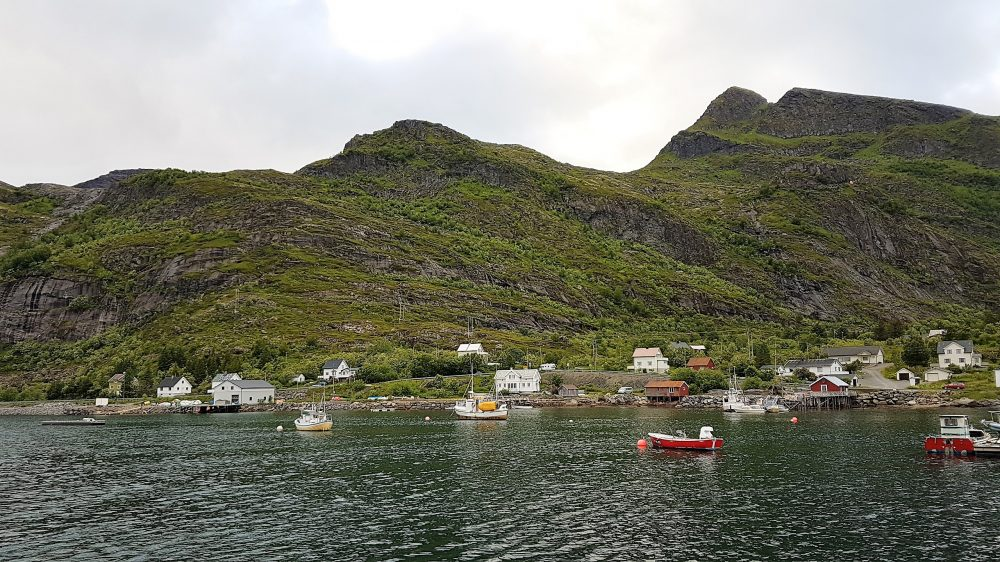 Lofoten Islands Norway - view at Moskenes port