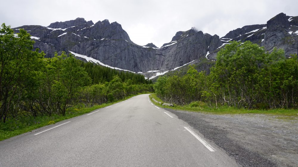 The Lofoten Islands Norway - driving mountain ahead